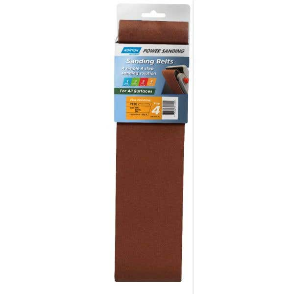 Norton Cloth Sanding Belt 100 x 610mm P120 Grit - 2 Pk