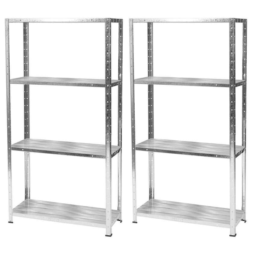 Hurricane 4 Shelf Galvanised Storage Unit - Twin Pack