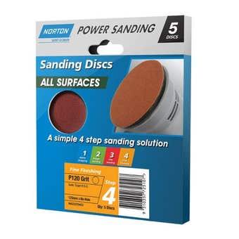 Norton Sanding Disc 125mm P120 Grit - 5 Pk