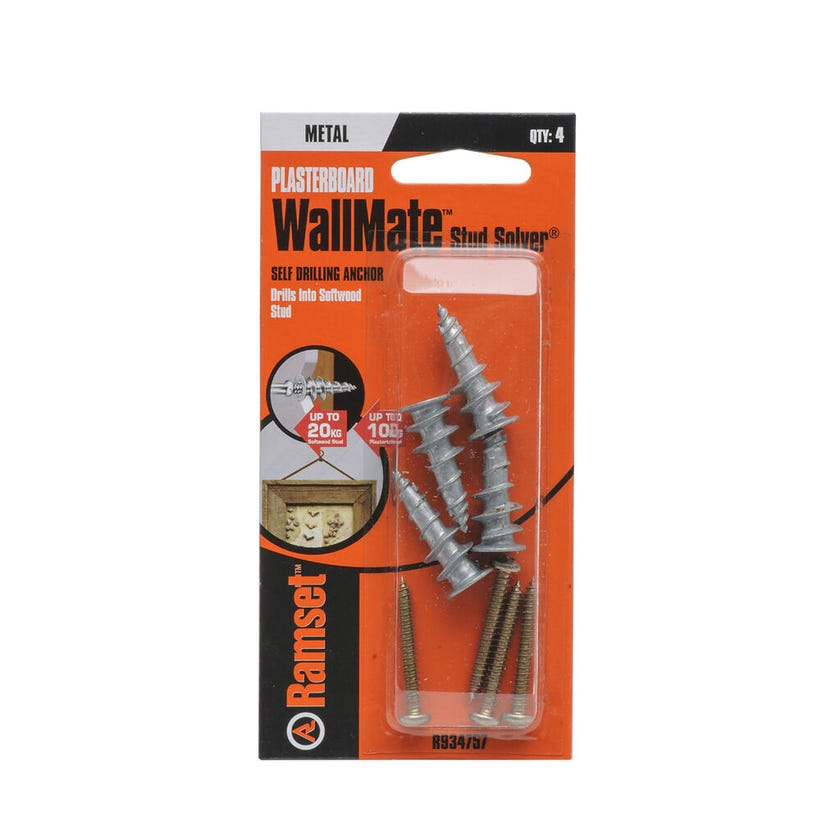 Ramset WallMate Stud Solver With Screws 20kg - 4 Pack