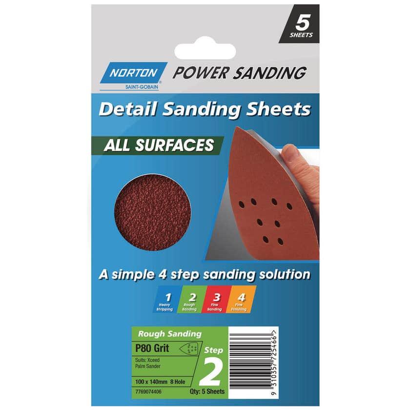 Norton All Surface Detail Sanding Sheet Step 2 100 x 140mm x 8h P80 - 5 Pack