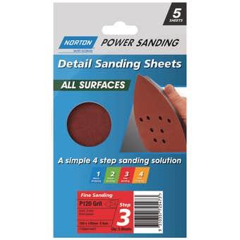 Norton All Surface Detail Sanding Sheet Step 3 100 x 140 x 8h P120 - 5 Pack