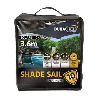 Durashield Square Shade Sail Platinum Charcoal 3.6m
