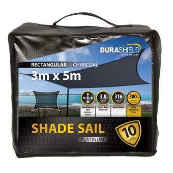 Durashield Shade Sail Platinum Charcoal 3 x 5m