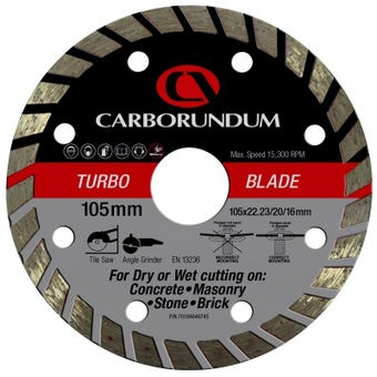 Carborundum Turbo Diamond Blade 105 x 22/20/16mm
