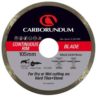Carborundum Continuous Rim Diamond Blade 105 x 22/20/16mm