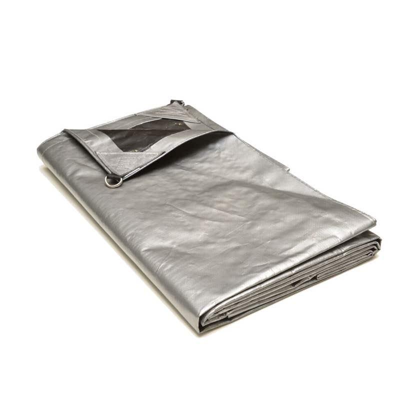 Polytuf Extra Heavy Duty D-Ring Tarp Silver/Black 1.8 x 2.4m