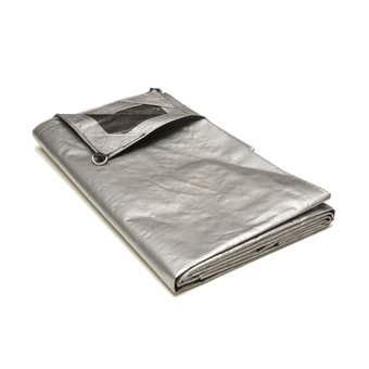Polytuf Extra Heavy Duty D-Ring Tarp Silver/Black 3.6 x 3.6m