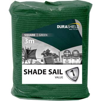 Durashield Square Shade Sail Value Green 3m