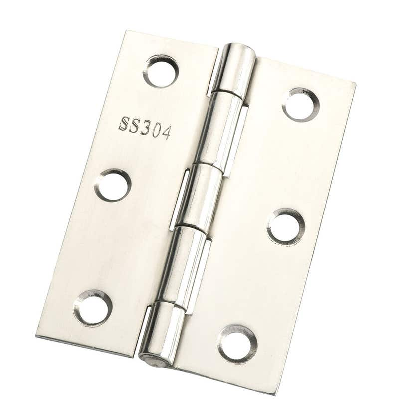 Zenith Butt Hinge Fixed Pin Polished Stainless Steel 85mm - 2 Pack