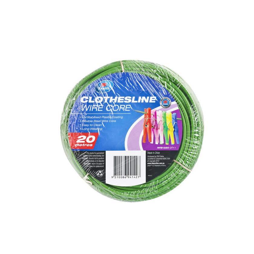 Zenith Clothesline Wire Core Green 3.7mm x 20m