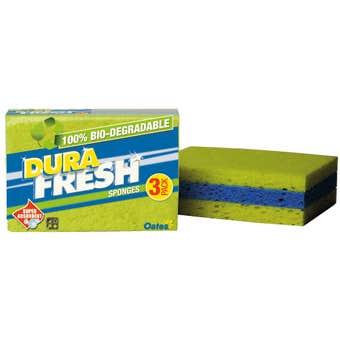 Oates DuraFresh Sponge Biodegradable - 3 Pack