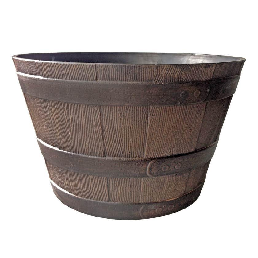 Southern Patio Whiskey Barrel Planter Walnut 640mm