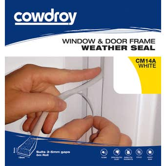 Cowdroy Window and Door Frame Weather Seal White 6 x 19mm x 5m