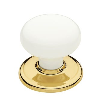 Gainsborough Classic Series White Wardrobe Knob Set Bright Gold