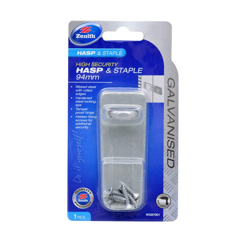 Zenith Safety Pattern Hasp & Staple Galvanised 94mm - 1 Pack