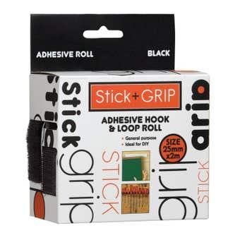 Trio Stick + Grip Adhesive Hook & Loop Roll Black 25mm x 2m