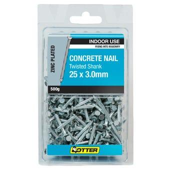 Otter Concrete Nail Zinc Plated 25 x 3mm 500g