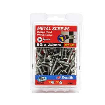 Zenith Metal Screws Button Head Galvanised 8G x 32mm - 100 Pack
