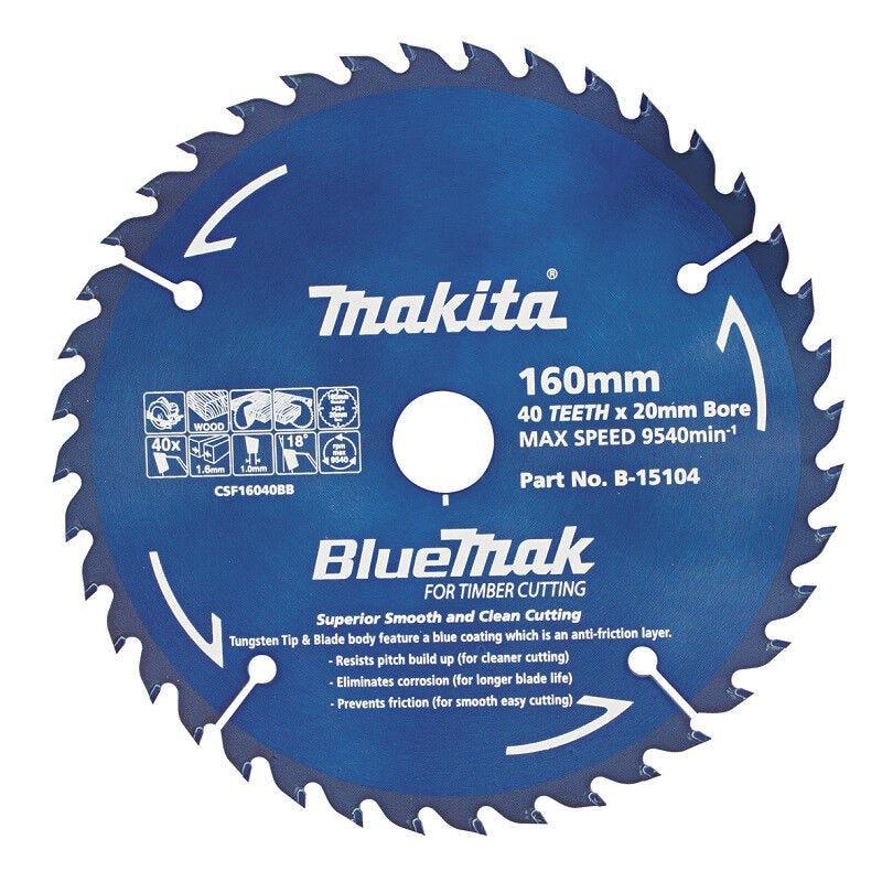Makita Saw Blade BlueMak 160 x 20mm bore x 40T