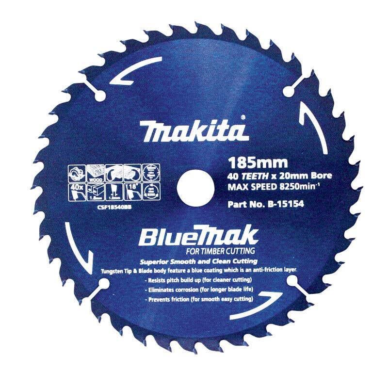 Makita Saw Blade BlueMak 185 x 20mm bore x 40T