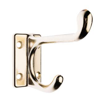 Zenith Square Base Style Hat & Coat Hook Brass Plated - 1 Pack