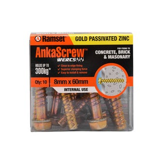 Ramset Ankascrew Zinc 8 x 60mm - 10 Pack