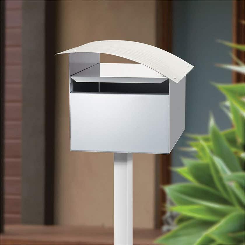 Sandleford Ripple Letterbox White/Silver