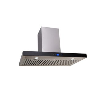 Euro Appliances Canopy Rangehood with Black Glass 900mm
