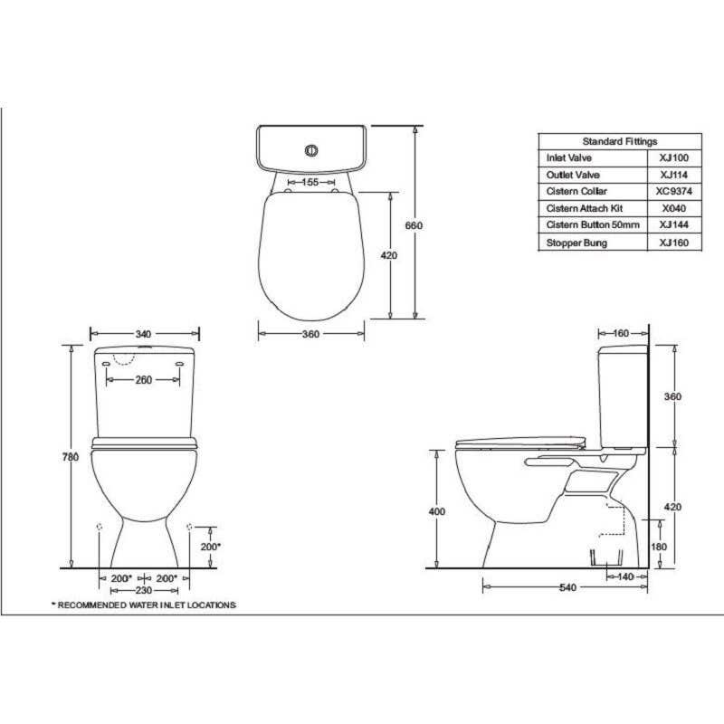 Marbletrend Milano Close Coupled Toilet Suite - P Trap