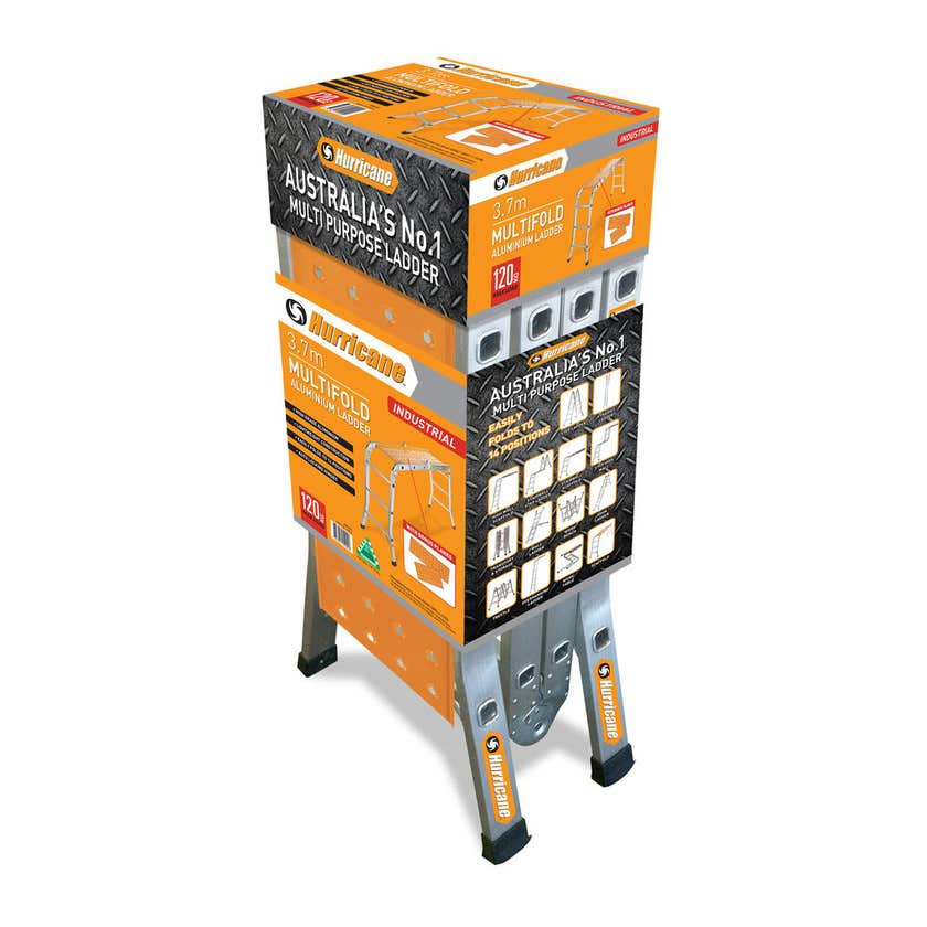 Hurricane 3.7m Multifold Ladder with Plank 120kg Industrial
