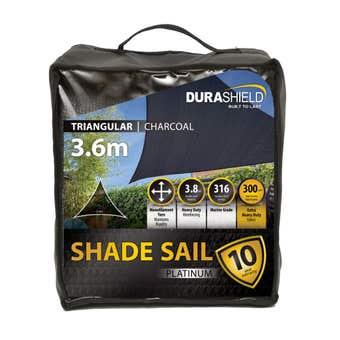 Durashield Triangle Shade Sail Platinum Charcoal 3.6m
