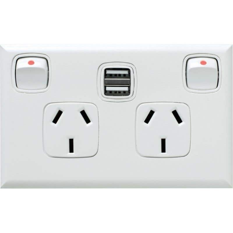 HPM Excel Double Powerpoint With Dual USB Charger