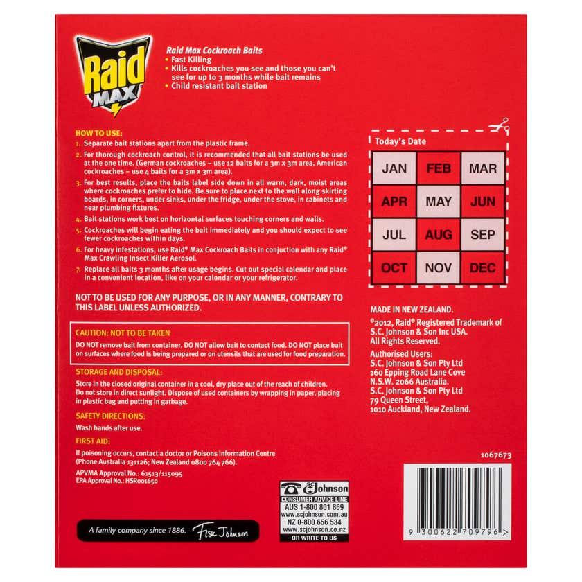 Raid Max Cockroach Baits 2.5g - 12 Pack