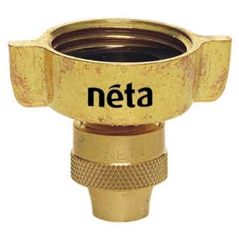 "Neta Winged Brass Screw Tap Adaptor 3/4"" x 18mm"