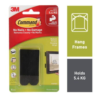 Command Picture Hanging Strips Black Medium - 4 Pack