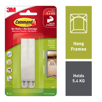 Command Picture Hanging Strip White Narrow - 4 Pack