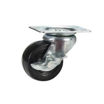 Cold Steel Rubber Swivel Castor with Brake Black 50mm