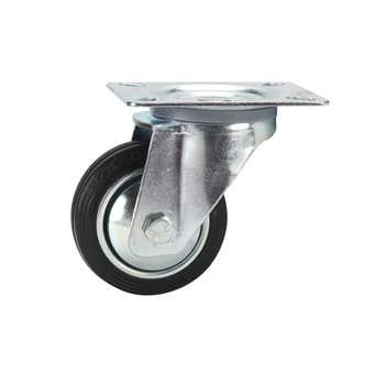 Cold Steel Rubber Swivel Castor Black 80mm