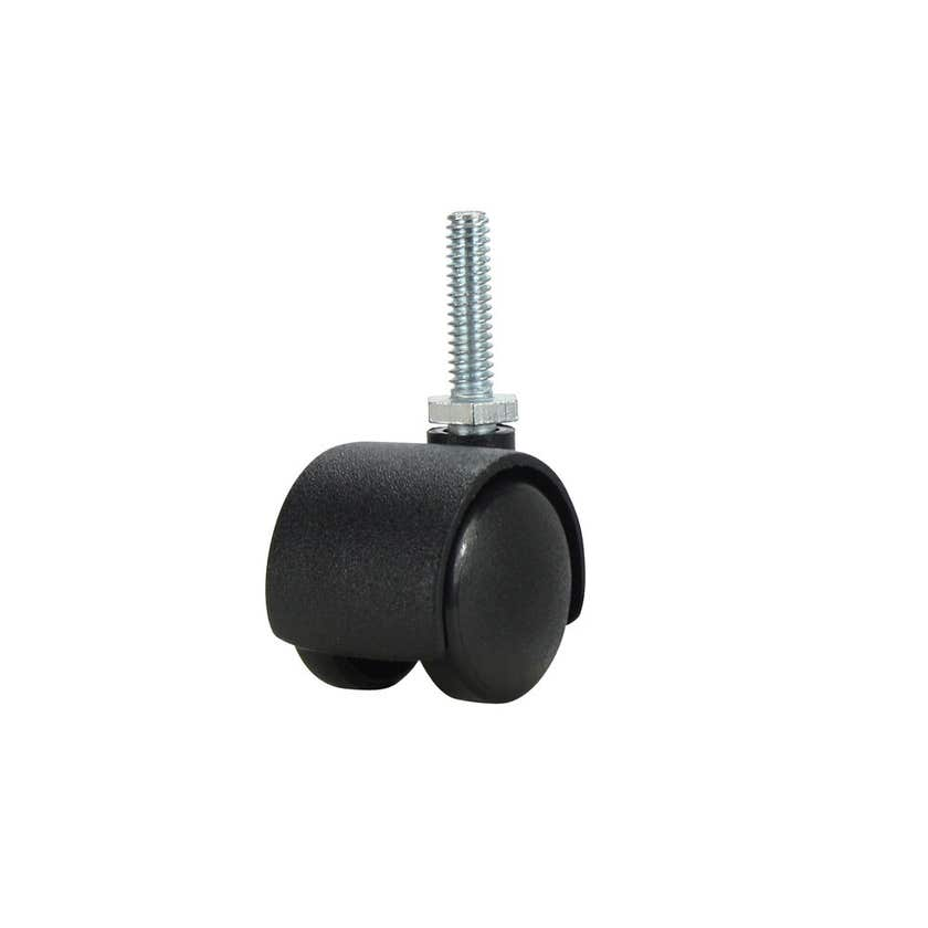 """Cold Steel Twin Wheel Hooded 1/4"""" Thread Furniture Castor 30mm - 2 Pack"""