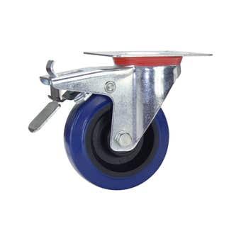 Cold Steel Rubber Swivel Castor with Brake Blue 100mm