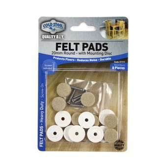 Cold Steel Round Felt Pads with Mounting Disc Beige 20mm - 8 Pack