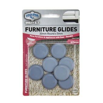 Cold Steel Round Furniture Glides Grey 30mm - 8 Pack