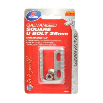 Zenith Square U Bolt Galvanised 26mm - 1 Pack