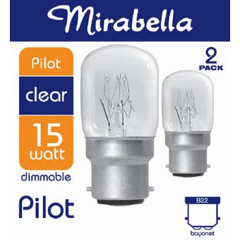 Mirabella Pilot Dimmable Globe 15W BC Clear - 2 Pack