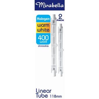 Mirabella Eco Halogen Linear globe 400W Warm White 118mm - 2 Pack