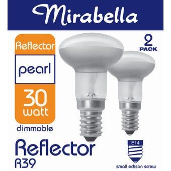 Mirabella Halogen Reflector Globe R39 30W SES Pearl - 2 Pack