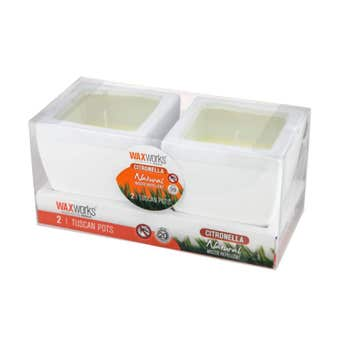 Waxworks Citronella Tuscan Pot Candles Assorted Colours
