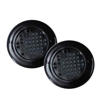 Haron Round Cupboard Vent Black 40mm - 2 Pack