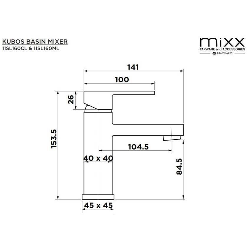 Mixx Kubos Basin Mixer Chrome